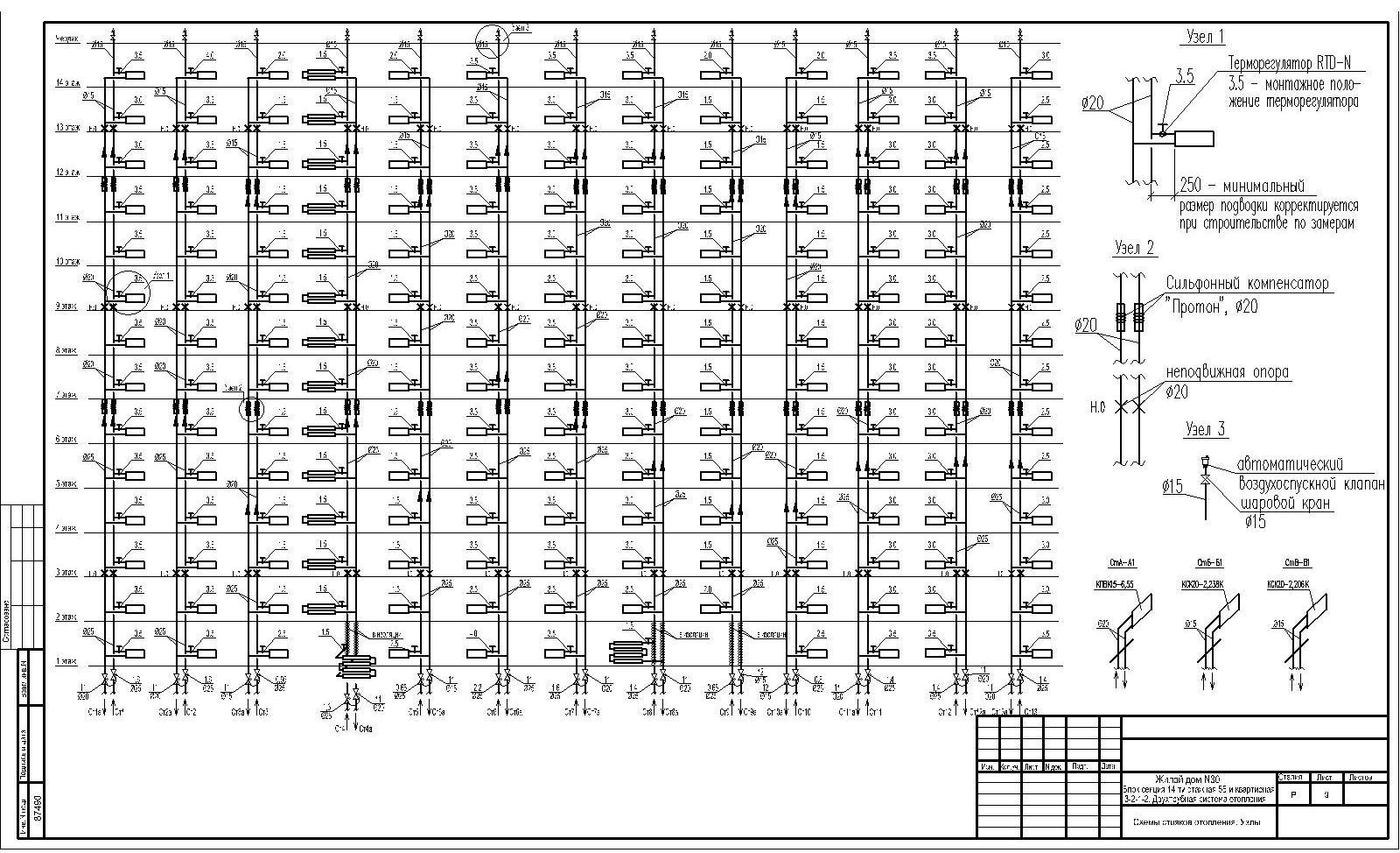 Схема стояка отопления в многоэтажном доме
